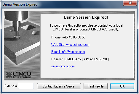 License Expiration Screen CIMCO Products