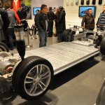 Tesla Rolling Chasis showing Battery Storage