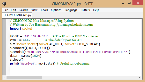 This sample code sends a MDC Message to DNC Max.