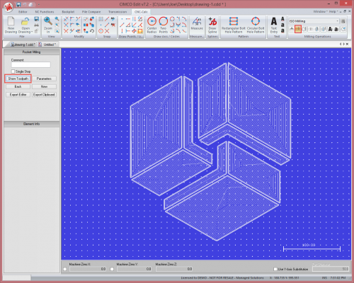 CIMCO CNC Calc Interface showing pocket milling toolpath.