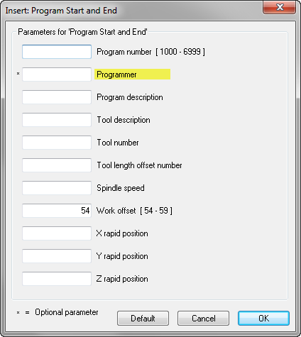 The $11 Programmer is the second input in the dialog.