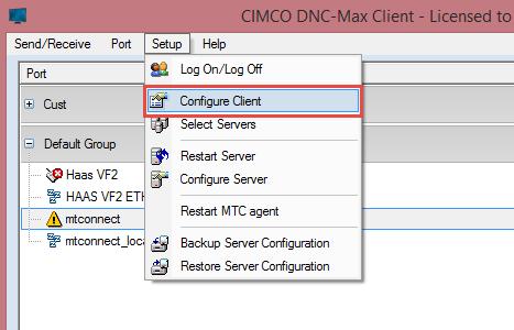 Select configure DNC Max Client