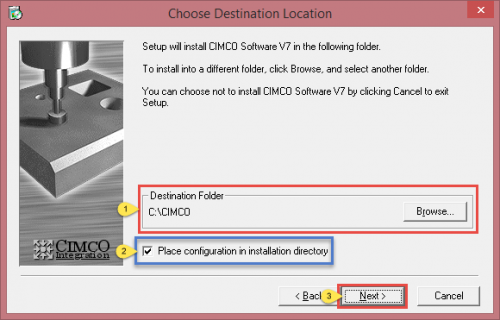 Choose the directory for CIMCO Software and Configuration Checkbox