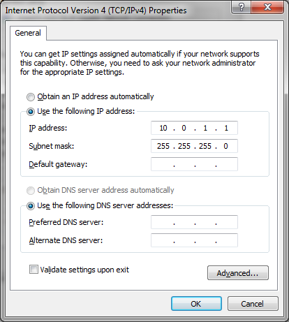 IPv4 Settings for Private Network Dual Homed Example