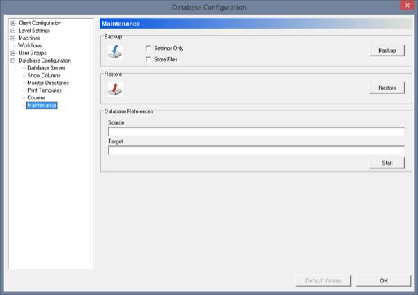 CIMCO PDM Backup/Restore Screen