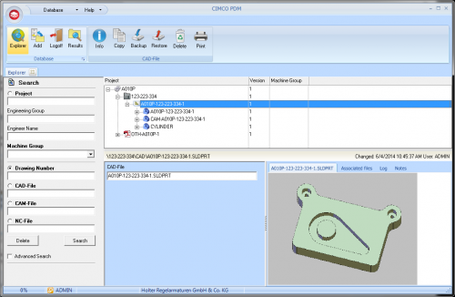 Solid Works Solid Part Preview in CIMCO PDM