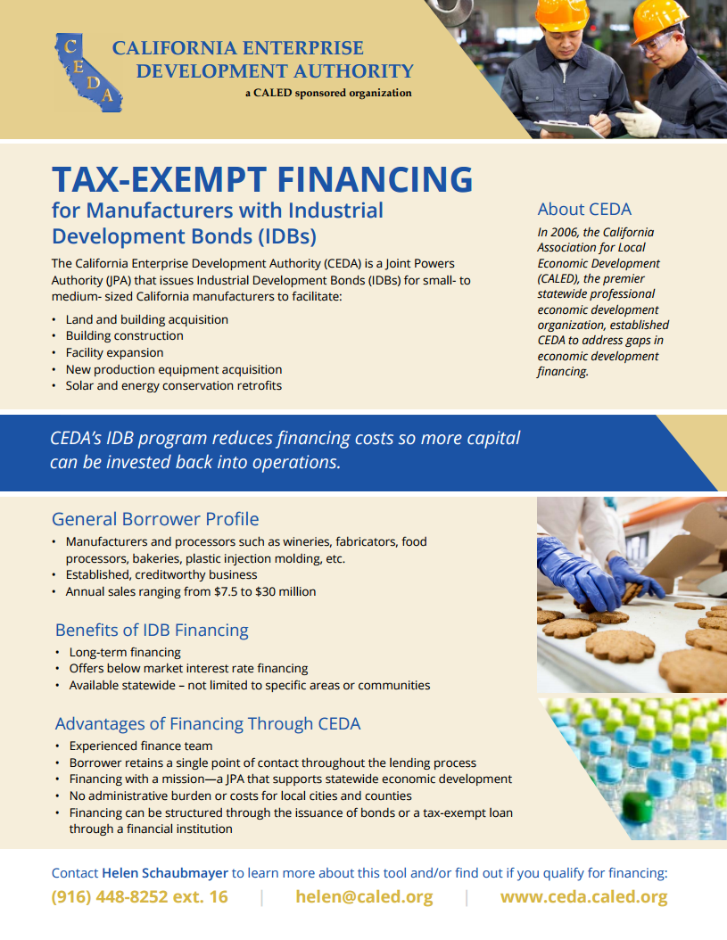 Tax Exempt Financing for California Manufacturers
