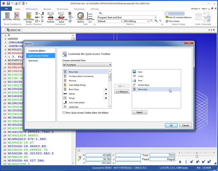 Customize Quick Access Toolbar CIMCO Edit 8